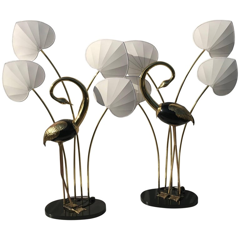 Monumental Pair of Brass Standing Egret Floor Lamps by Antonio Pavia