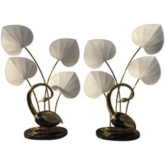 Pair of Brass Seated Egret Floor Lamps by Antonio Pavia