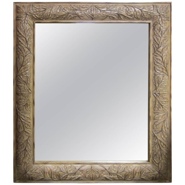 Large wall mirror of floor mirror with a carved wood frame for Framed floor mirror
