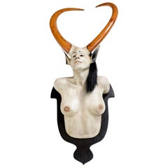 Daniel Painter Original Wall-Mounted Fantasy Horned Female Bust Figure