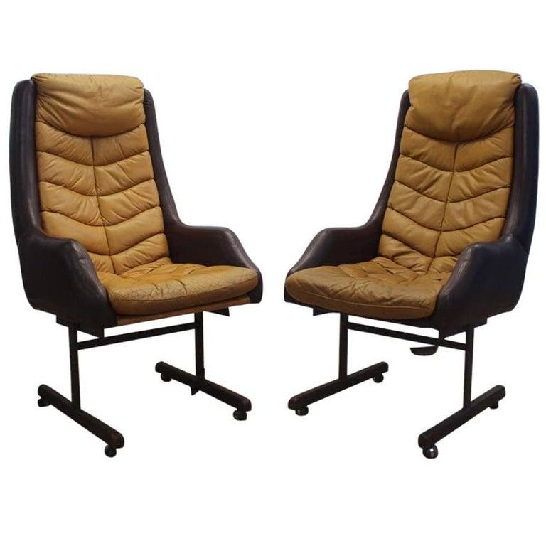 Pair Italian Office/Lounge Leather Armchairs Pirelli