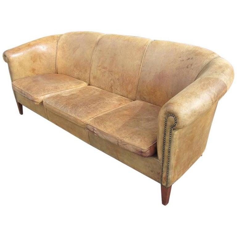 Mid-Century Italian Light Brown Leather Club Sofa Vintage