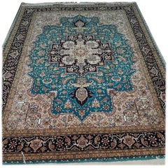 Herris Turquoise, Cotton and Silk Hand-Knotted Persian Harris Rug