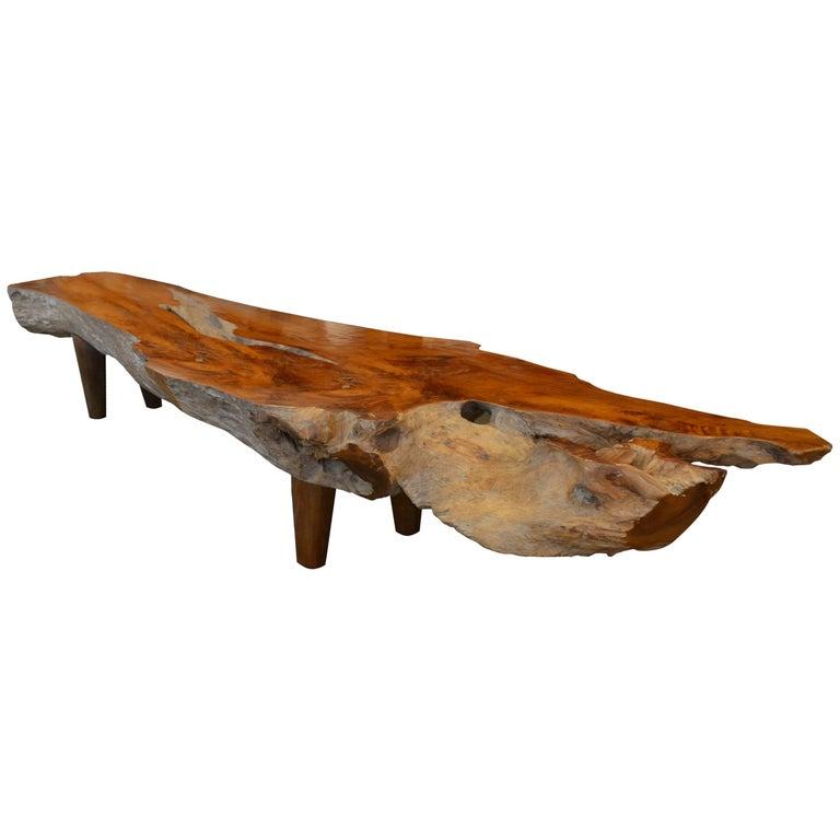Andrianna Shamaris Single Slab Teak Wood Coffee Table or Bench