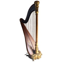 Antique American Gilt and Satinwood Musical Harp New Metropolitan USA circa 1895