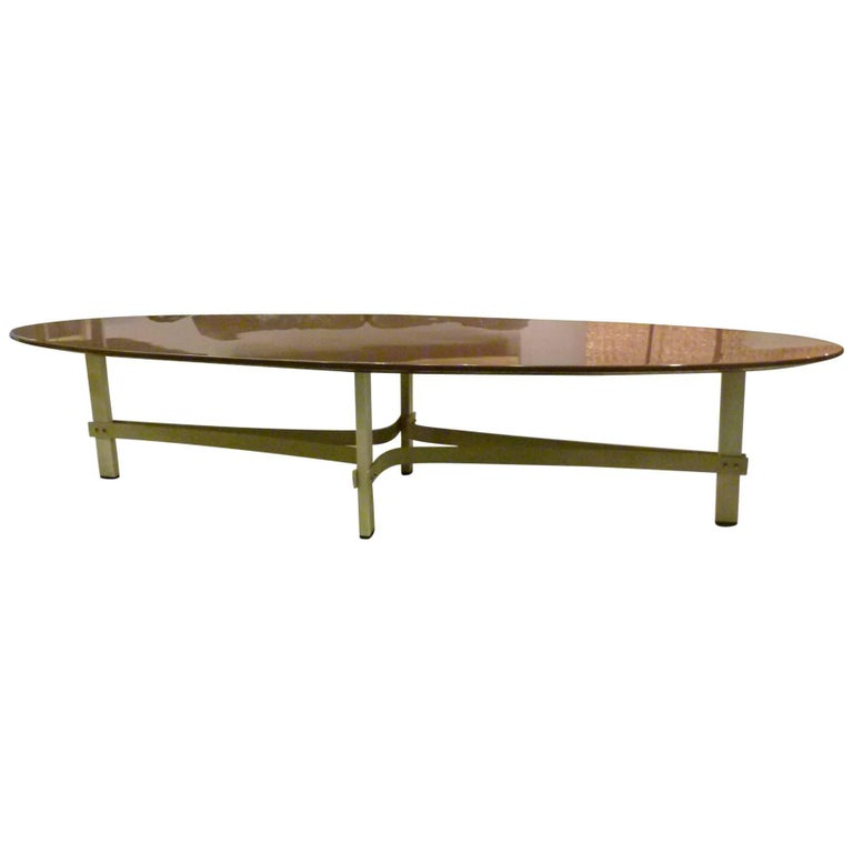 Metal And Lacquer Oval Coffee Table 1960 1970 For Sale At 1stdibs