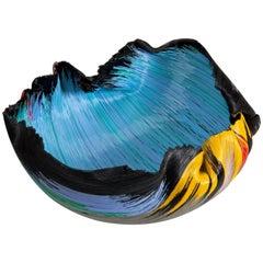 Unique Glass Filet-de-Verre Bowl by Toots Zynsky