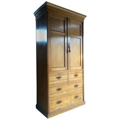 Tall Antique Linen Press Dresser Solid Pine Very Tall, circa 1900 Edwardian