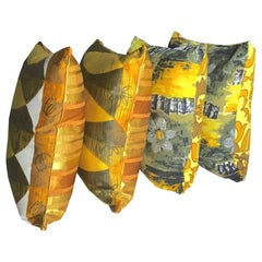 Vintage 1950s Yellow and Gold Cushions in Heritage Fabrics by Sunbeam Jackie