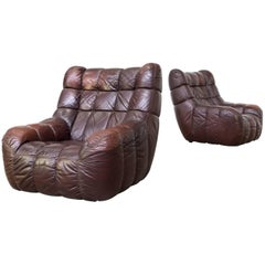 1960s Cubistic Patchwork Lounge Fauteuils, Set of Two