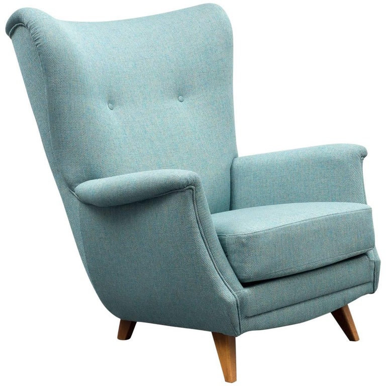 1960s Missoni Wingback Chair At 1stdibs: 1960s Vintage Wingback Chair Entirely Restored, Turquoise
