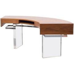1960s Semicircular Desk, Walnut and Plexiglass Feet