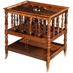 Late Regency period rosewood Canterbury/ single tier Étagère