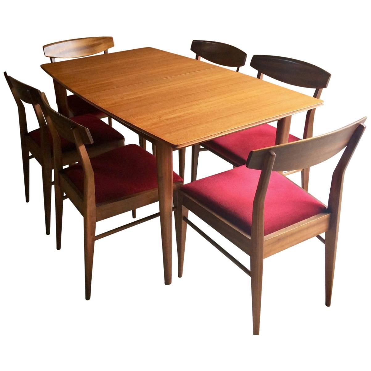 A H McIntosh Solid Teak Extending Dining Table And Six Chairs Danish Style