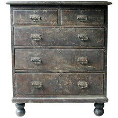 Large and Decorative Stained Pine Chest of Drawers, circa 1900-1915