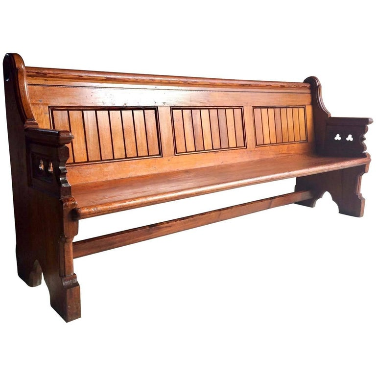 Antique Gothic Pitch Pine Church Pew 19th Century Gothic Revival, 1890 For Sale