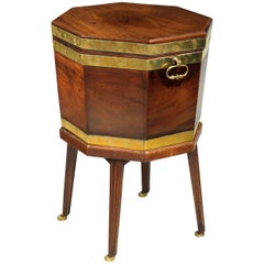 George III Period Mahogany Octagonal Wine Cooler with Brass Bound Upper Section
