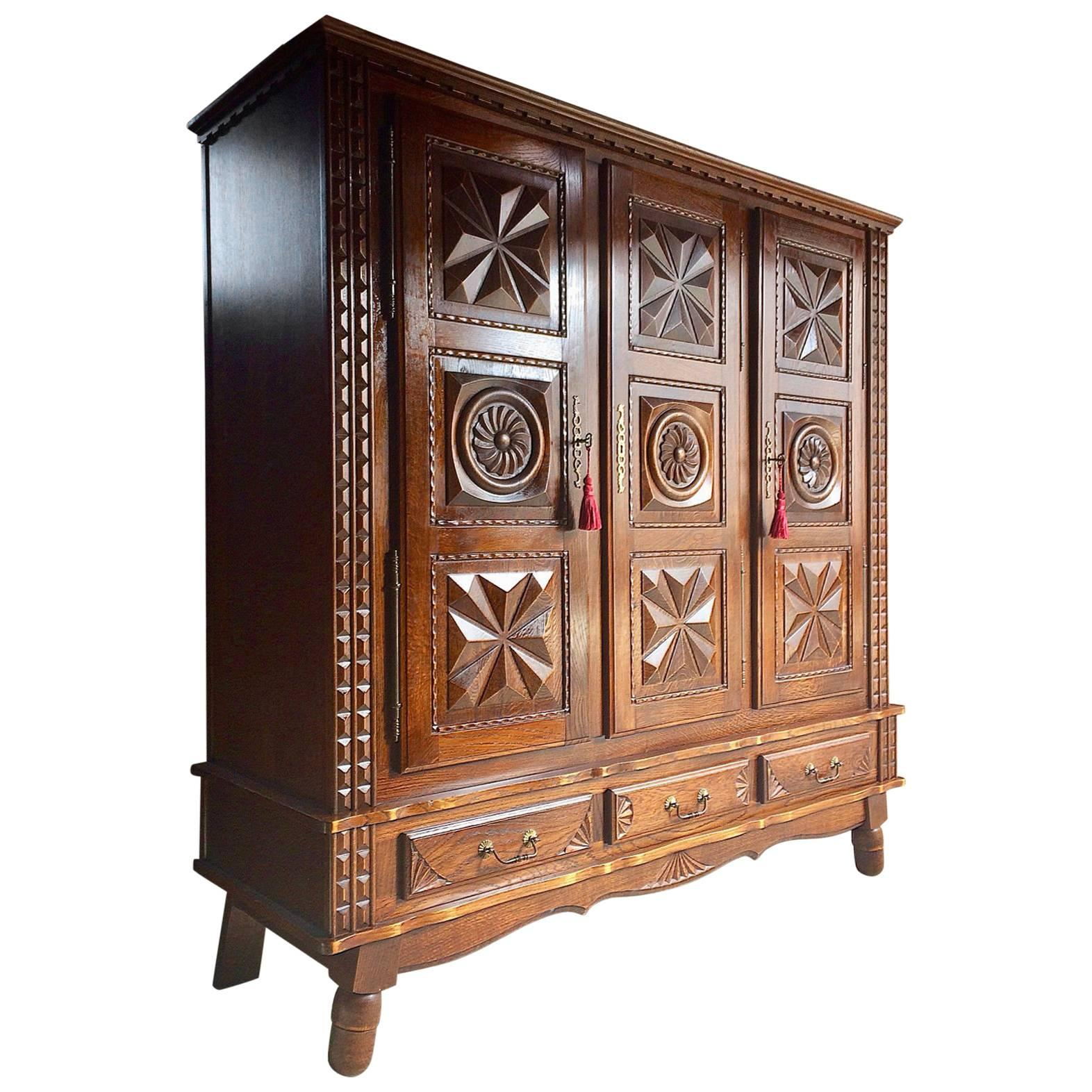 Antique Style French Oak Armoire Wardrobe Large Carved Bedside Cabinet.  Pine Single Door Armoire