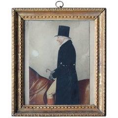 Watercolor Portrait of Sir Tatton Sykes by Richard Dighton, circa 1845