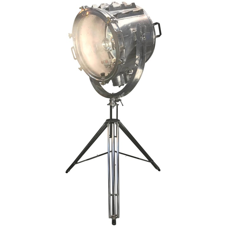 1980s Japanese Aluminium Vintage Industrial Searchlight
