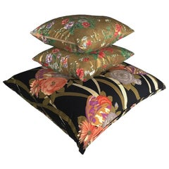 Gold Screenprinted Floral and Black Art Deco Vintage Cushions Collection