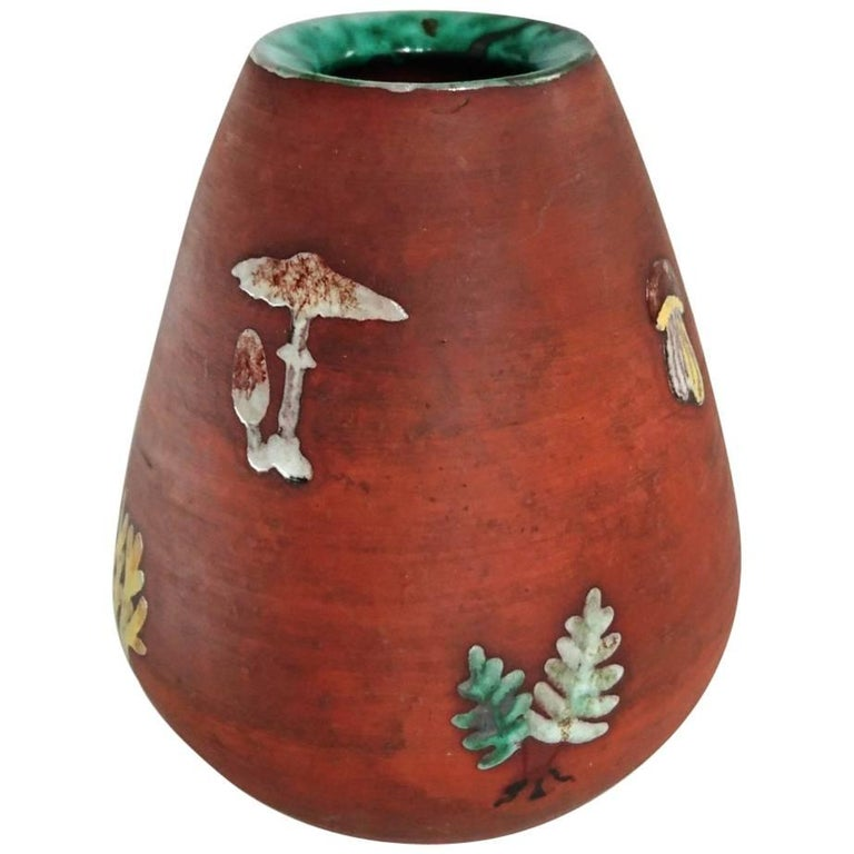 Mid-Century Ceramic Vase with Mushrooms and Ferns, Sweden For Sale