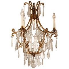 Spanish Crystal and Bronze Chandelier