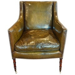 Regency Mahogany Leather Library Chair
