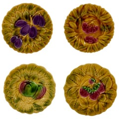 Sarreguemines French Faïence Majolica Fruit and Leaf Plates, Set of Four