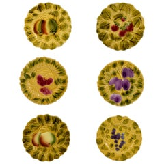 Sarreguemines French Faïence Majolica Fruit and Leaf Plates, Set of Six