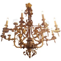 Large French Bronze and Brass Chandelier, 15 Lights, Early 1900
