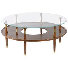 Italian Round 1940s Walnut Burl Coffee Table