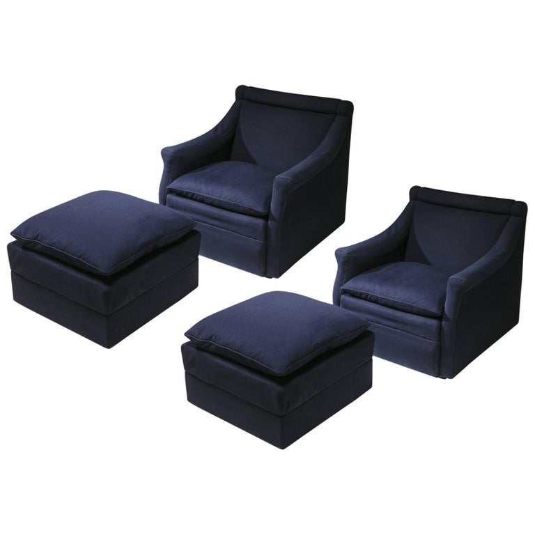 "Pair of ""San Siro"" Lounge Chairs with Ottomans by Caccia Dominioni for Azucena"