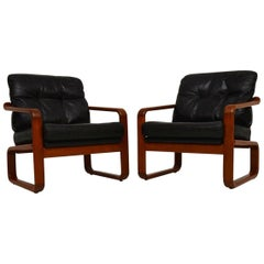 Pair of 1960s Danish Teak and Leather Armchairs