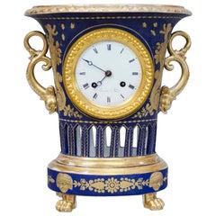Empire Darte Porcelain Vase Clock with Lapis Bleu Ground and Gild Decorations
