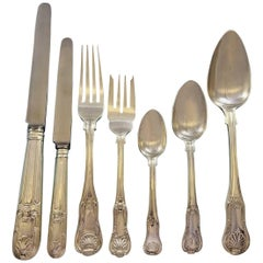 Kings English Sterling Silver Flatware Set for 12 Service 84 Pieces Dinner