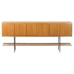 Mid Century modern  Italian sideboard  sliding grooved  Doors  ,1960's