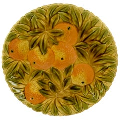 Sarreguemines French Faïence Majolica Oranges and Leaf Round Serving Platter