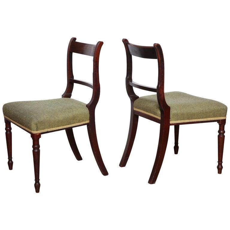 Pair of Irish, Neoclassical Mahogany Side Chairs, circa 1810-1820