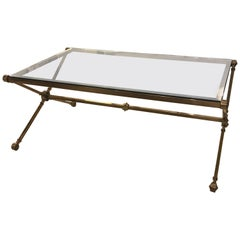 Hollywood Regency Glass and Brass Cocktail Table