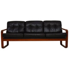 1960s Danish Teak and Leather Vintage Sofa