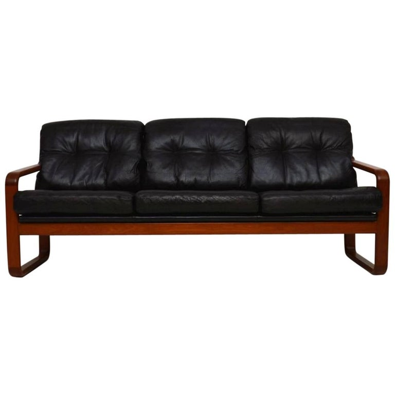 1960s Danish Teak And Leather Vintage Sofa For