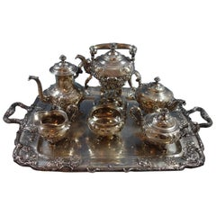 Modernic by Gorham Sterling Silver 6-Piece Tea Set with Tray, #1818B, Hollowware