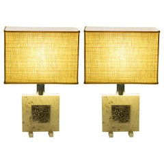 Pair of Midcentury Italian Travertine and Chrome Table Lamps