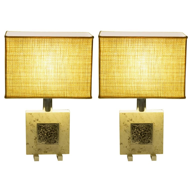 Pair of Midcentury Italian Travertine and Chrome Table Lamps For Sale