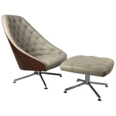 Rare Swivel Lounge Chair and Ottoman by Milo Baughman for Thayer Coggin