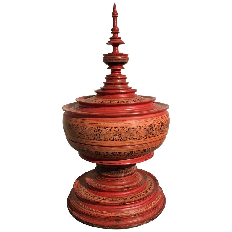 19th Century Burmese Red Lacquer Painted Hsun-Ok