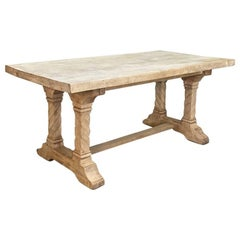 Antique Rustic Trestle Table in Solid Oak