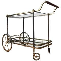Brass Bar Cart with Glass Shelves