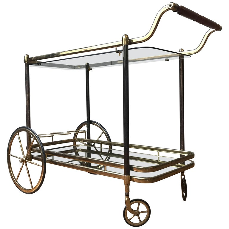 brass bar cart with glass shelves for sale at 1stdibs. Black Bedroom Furniture Sets. Home Design Ideas